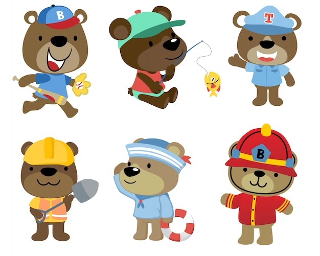 Мультяшный набор маленьких медведей Premium векторы