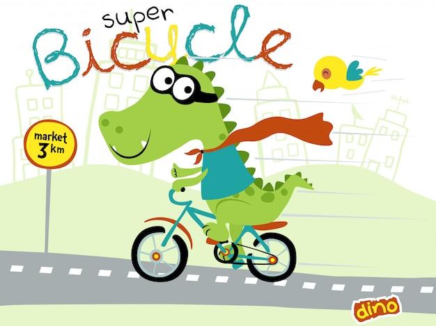 面白いスーパーヒーロー漫画恐竜乗馬自転車 Premiumベクター
