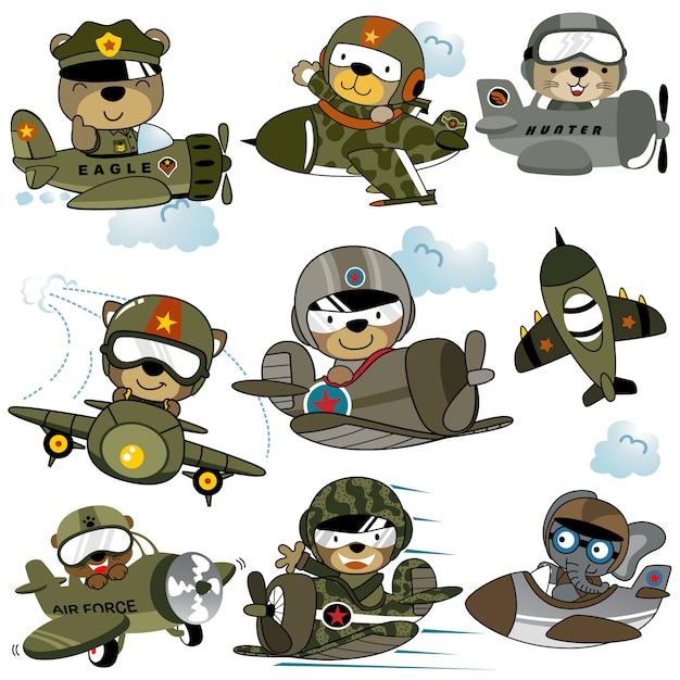 Векторный набор военных самолетов мультфильма с забавными летчиками Premium векторы