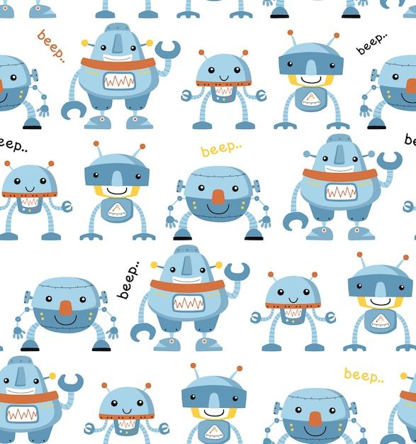 面白いロボット漫画とのシームレスなパターン Premiumベクター