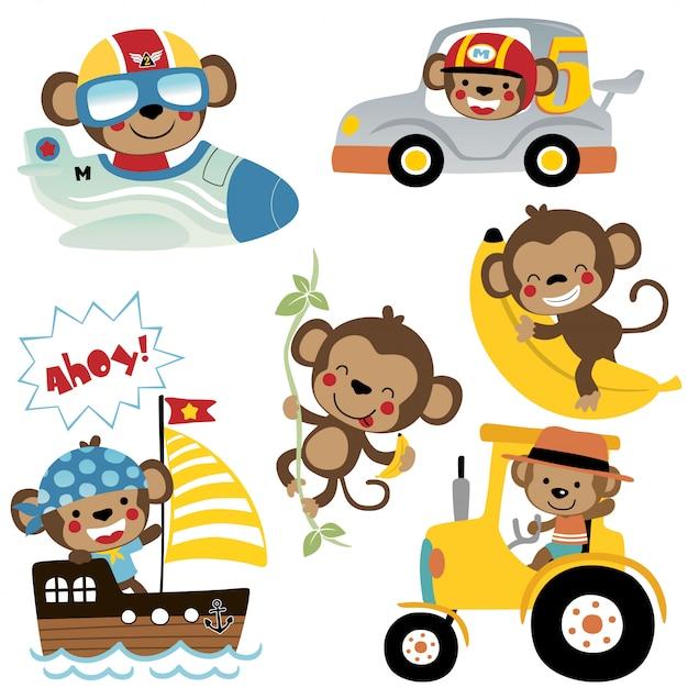 Векторный набор забавных мультяшных обезьян Premium векторы