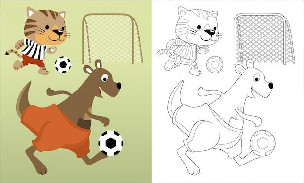 面白い動物漫画サッカー Premiumベクター