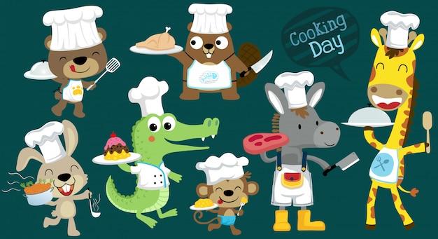 Векторный мультфильм набор смешных шеф-повара животных приготовления Premium векторы