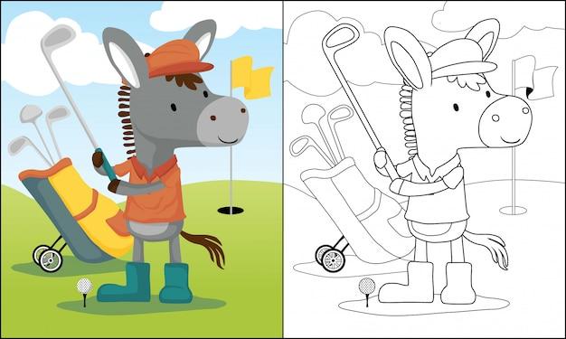 Мультфильм осел, играя в гольф Premium векторы