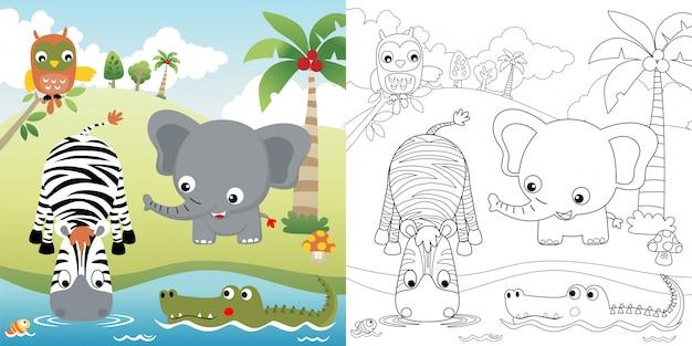 Хороший мультфильм животных в природе Premium векторы