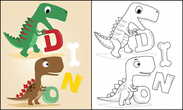 Мультфильм динозавров с буквами Premium векторы