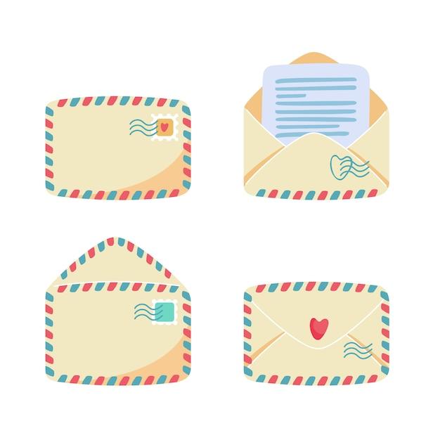 Коллекция бумажных конвертов с воздушной почтой в полоску. открытый, закрытый, спереди, вид сзади. почтовые марки и почтовые марки на нем, письмо или пометка внутри. концепция почтовой службы. плоский мультфильм иллюстрации Premium векторы