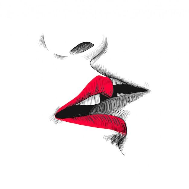 Поцелуй эскиз иллюстрации, рисованной черный, красный и белый каракули Premium векторы