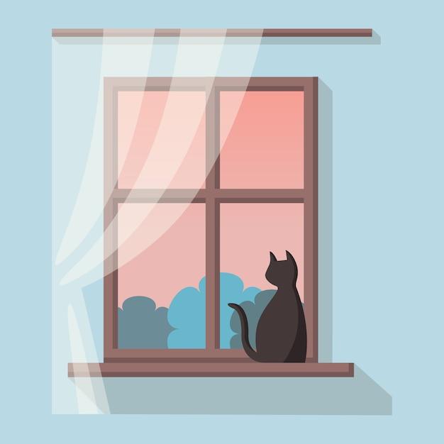 風景を望む木製窓。黒い猫は窓辺に座っています。 Premiumベクター