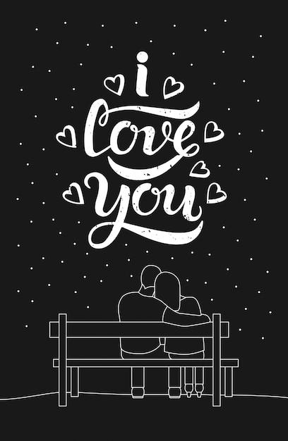 愛情のあるカップルのロマンチックなシルエットはベンチに座る Premiumベクター