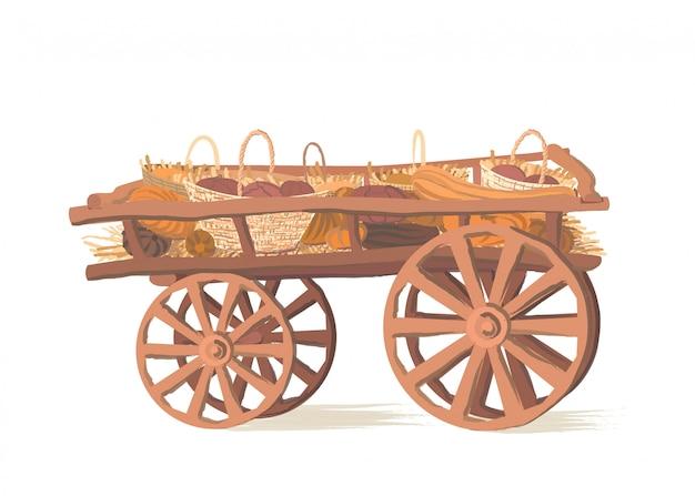 Тыквы на деревянной тележке Premium векторы
