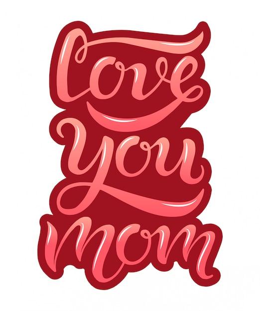 手描き愛ブルゴーニュの背景にお母さんのタイポグラフィレタリングポスター Premiumベクター