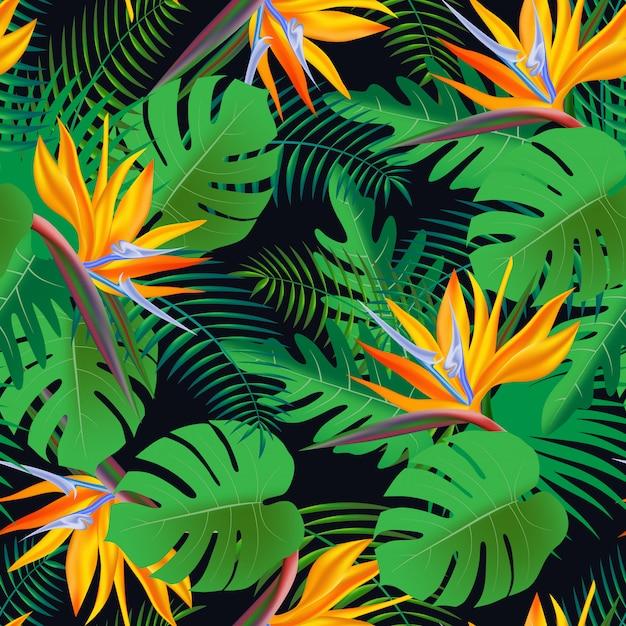 ベクターのシームレスな熱帯パターン、鮮やかな熱帯の葉、モンステラ、ヤシの葉、エキゾチックな花 Premiumベクター
