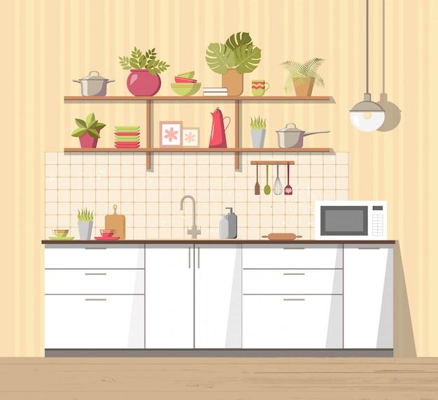 白い居心地の良いキッチンインテリアと家具 Premiumベクター