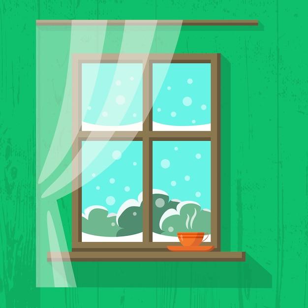 カーテン付き木製窓 Premiumベクター