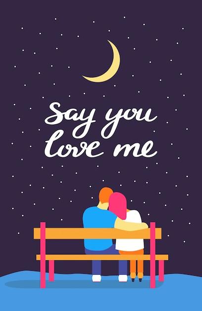 愛するカップルのロマンチックなシルエット Premiumベクター