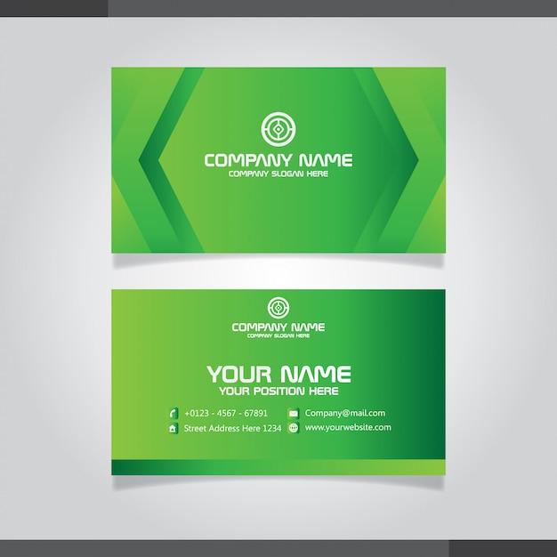 グリーンモダンな創造的な名刺と名刺 Premiumベクター