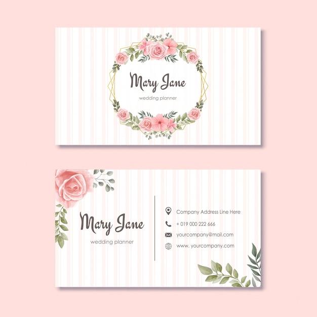 Свадебный переполох визитная карточка с акварельными цветами Premium векторы