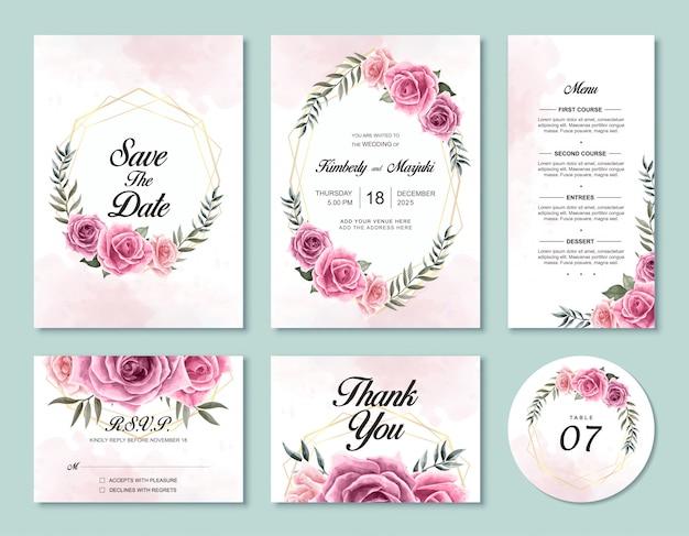 結婚式の招待カードテンプレートセット美しい水彩画のバラの花 Premiumベクター