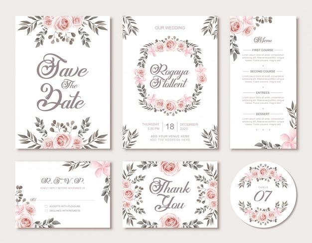 ヴィンテージの水彩花のスタイルで結婚式招待状のテンプレートセット Premiumベクター