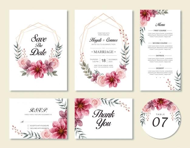 水彩花の花のスタイルを持つヴィンテージの結婚式の招待カードテンプレートセット Premiumベクター
