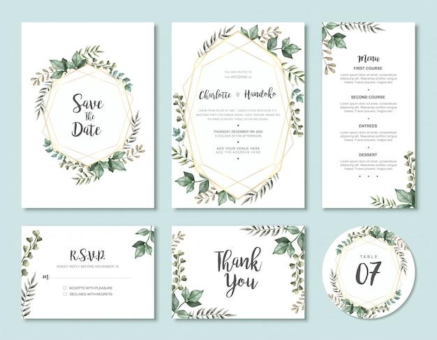 Винтажные акварельные листья свадебные приглашения набор шаблонов карточек Premium векторы