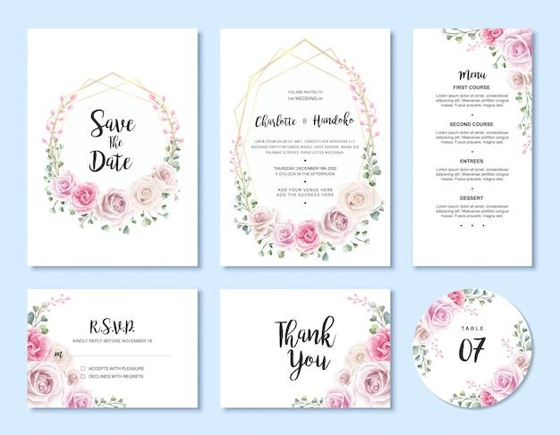 水彩花の結婚式の招待状カードテンプレートセット Premiumベクター