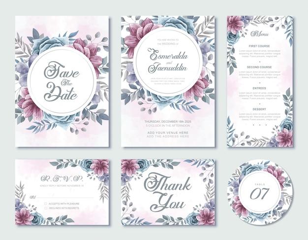 結婚式の招待カードテンプレート水彩花柄 Premiumベクター