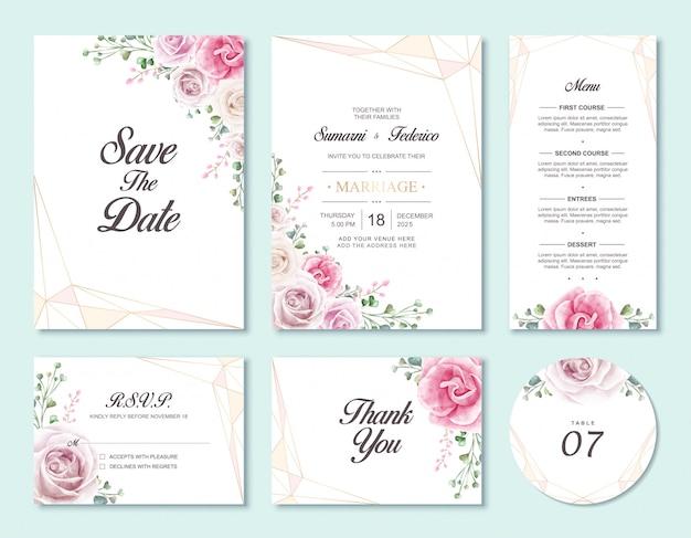 花の結婚式の招待カードセットテンプレート Premiumベクター