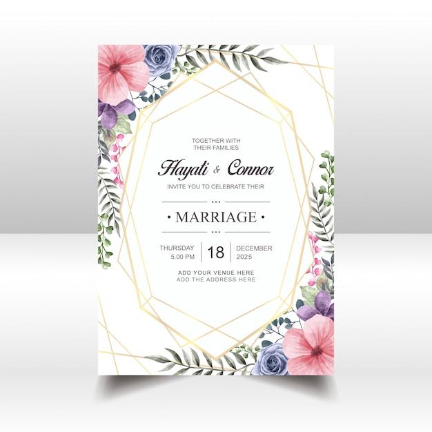ビンテージ花の結婚式の招待状カードのテンプレート Premiumベクター