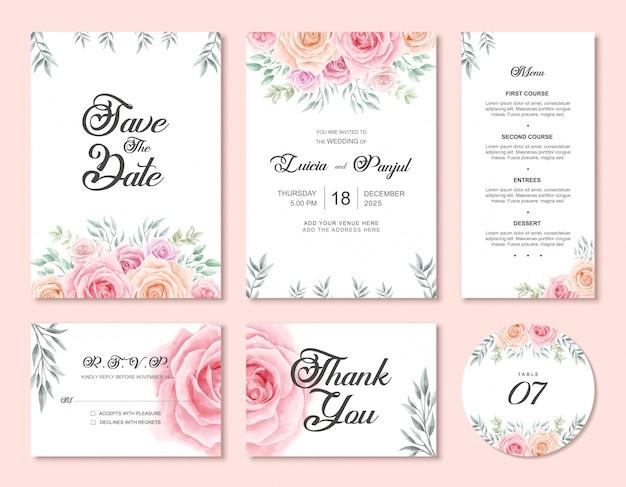 水彩花の花で結婚式の招待カードテンプレートセット Premiumベクター
