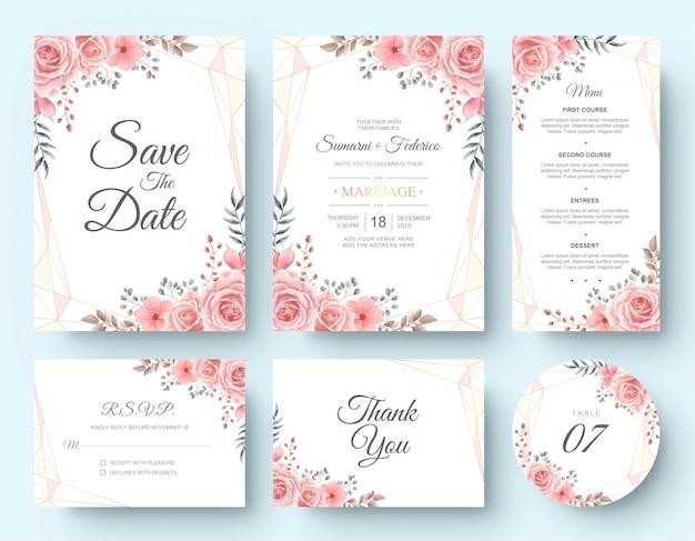 水彩花の結婚式の招待カードのひな形セット Premiumベクター