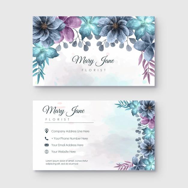 Визитная карточка флориста с акварельным цветочным декором Premium векторы