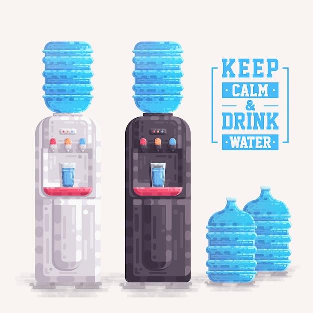 プラスチック製の容器の瓶のベクトルとオフィスウォータークーラーディスペンサー Premiumベクター