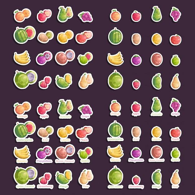 Набор фруктов наклейки векторная иконка коллекция иллюстрация Premium векторы