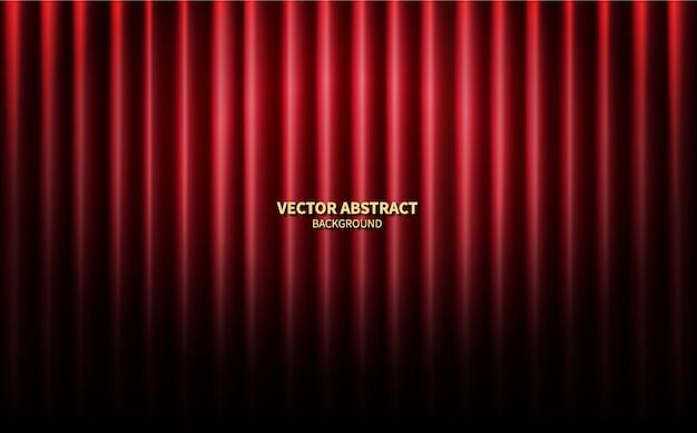 赤いカーテンシアターシーンステージの背景。ベクトル抽象的な背景パフォーマンスコンサート。 Premiumベクター