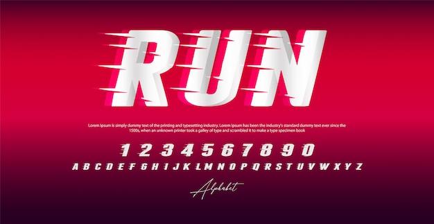 Запустить стиль шрифта, алфавит и цифры, Premium векторы