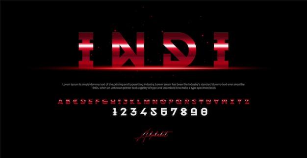 現代アルファベットのフォントと番号。タイポグラフィアーバンスタイルフォント Premiumベクター