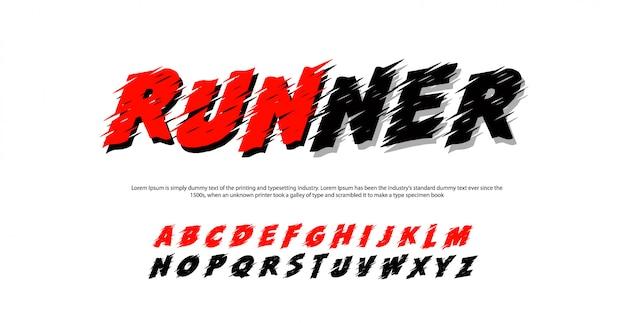 Спортивные современные алфавитные шрифты. бегун типография курсив шрифт Premium векторы