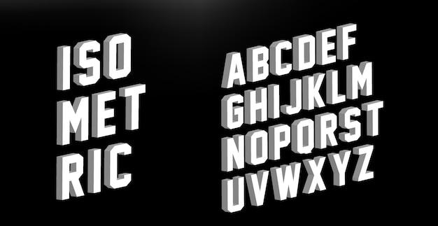 現代の等尺性フォントアルファベット Premiumベクター
