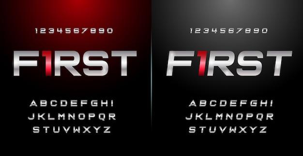 Спорт современный алфавит шрифт и номер установлены. типография шрифты городского стиля Premium векторы