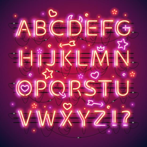 Светящийся двойной неоновый красный алфавит Premium векторы