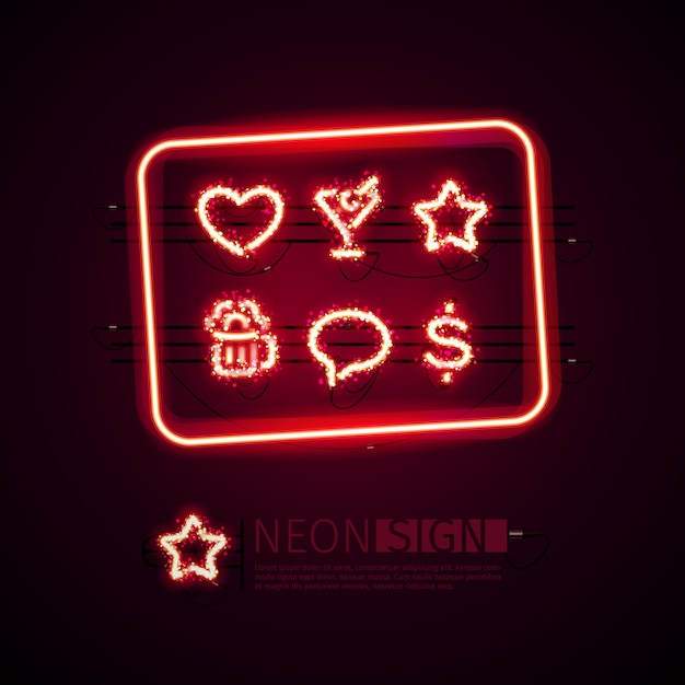 光るネオンバーの看板 Premiumベクター