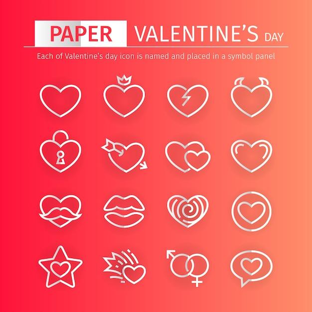 Набор иконок день святого валентина бумаги Premium векторы