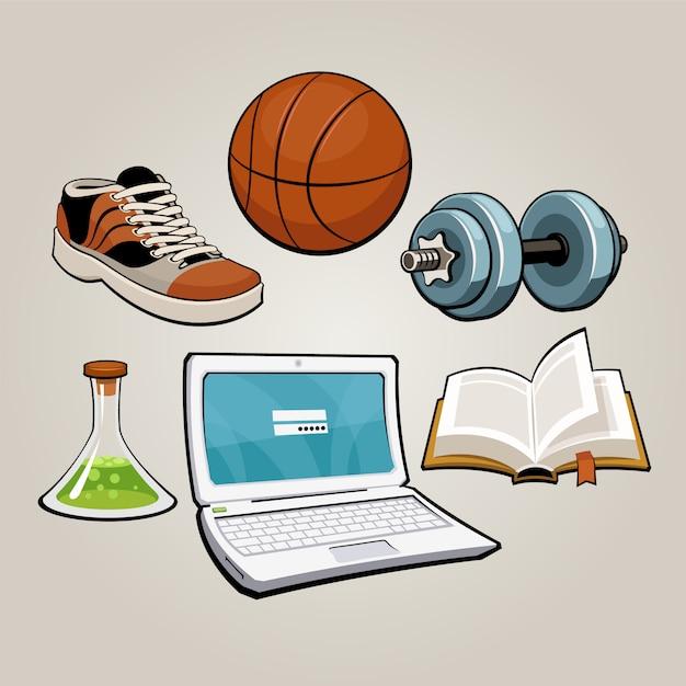 スポーツと教育の学生セット Premiumベクター