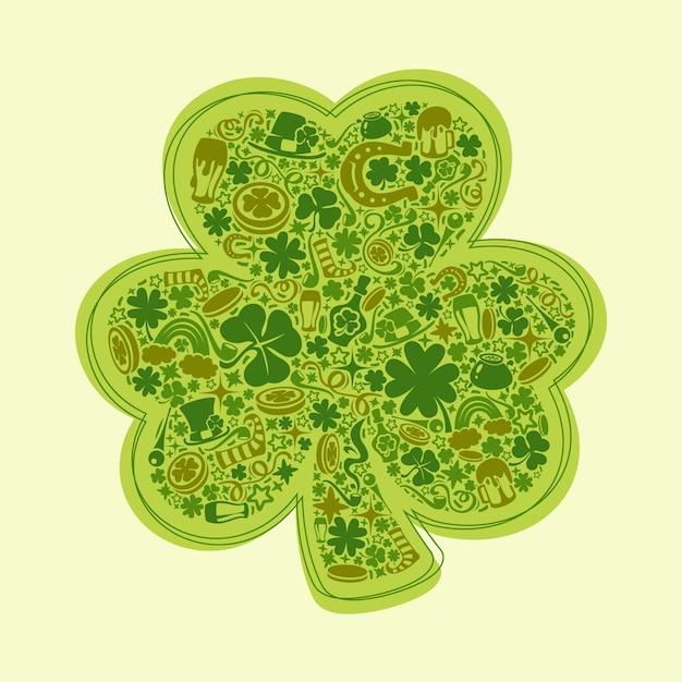 緑色のオブジェクトの聖パトリックの日カード Premiumベクター