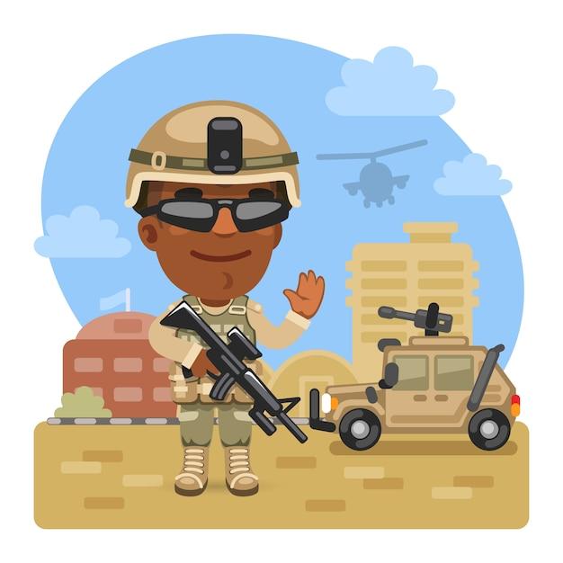 Мультипликационный солдат на военной базе Premium векторы