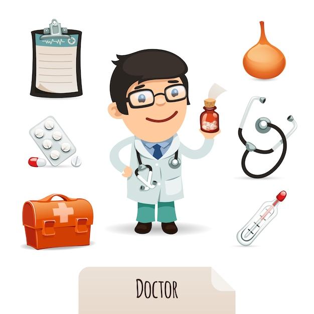 男性医師の医療用セット Premiumベクター