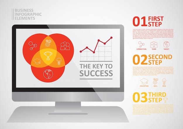 年間会社利益情報グラフィック Premiumベクター