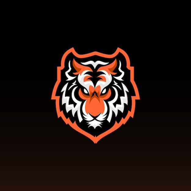 Голова тигра игровой талисман. тигр е спортивный дизайн логотипа. Premium векторы